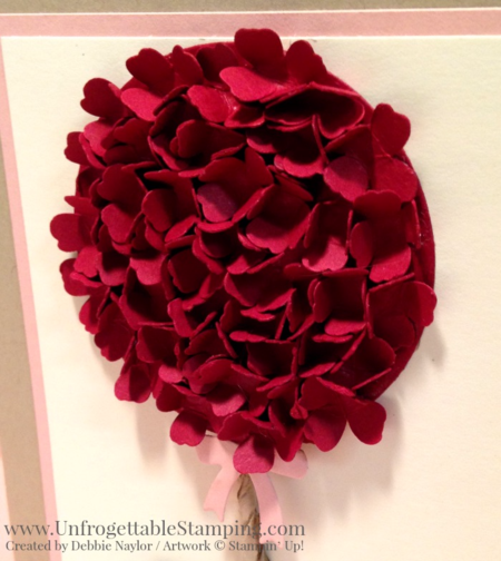 Unfrogettable Stamping | Fabulous Friday card using card stock scraps to create a floral topiary punch art Valentines Day card