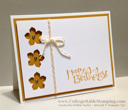 Unfrogettable Stamping | QE CASE'd birthday card featuring the Sassy Salutations stamp set, Petite Petals punch by Stampin' Up! for week of 2016-02-22