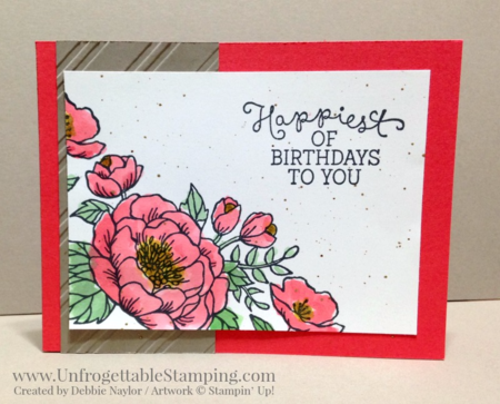 Unfrogettable Stamping | QE waterecolored birthday card featuring the Birthday Blooms stamp set by Stampin' Up! for the week of 2016-03-28