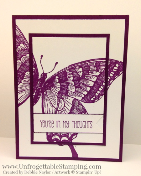 Unfrogettable Stamping | QE card featuring the retiring In Color Blackberry Bliss and the Swallowtail and A Dozen Thoughts stamp sets by Stampin' Up! for week of 2016-04-18
