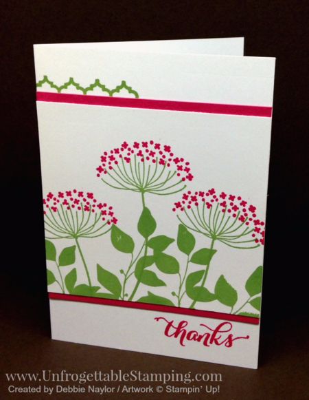 Unfrogettable Stamping |  QE thank you note card featuring the retiring Summer Silhouettes and Another Thank You tamp sets by Stampin' Up! for the week of 2016-04-25