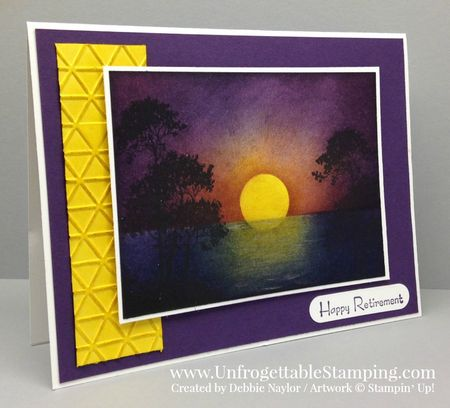 Unfrogettable Stamping Fabulous Friday Serene Silhouettes sunset retirement card2