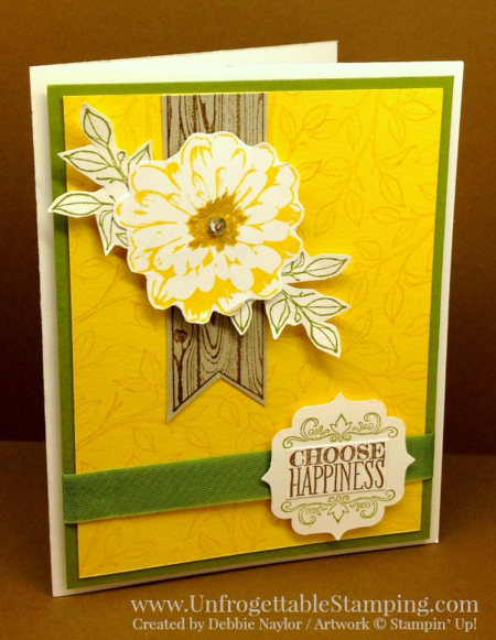Unfrogettable Stamping | QE card featuring the retiring Choose Happiness stamp set, label bracket punch and wild wasabi seam binding ribbon by Stampin' Up! for week of  2016-05-02