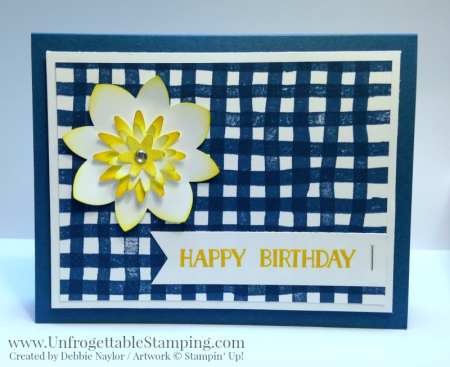Unfrogettable Stamping | QE birthday card featuring the Brushstrokes stamp set and a punch art flower created using the Flower Medallion and Blosom Bunche punches from Stampin' Up! for the week of 2016-06-27