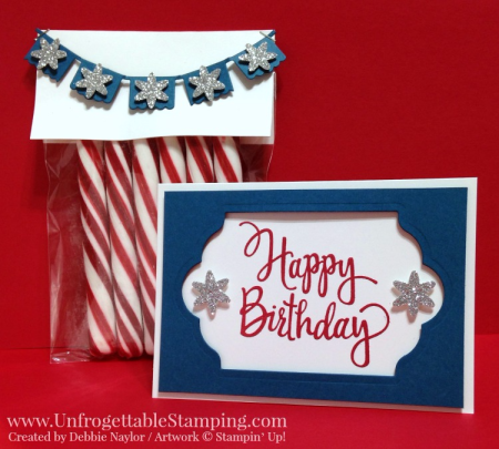 Unfrogettable Stamping | Fabulous Friday red, white and blue birthday card and candy favor featuring the Stylized Birthday stamp, Lots of Labels and Fiesta Time framelits collection and silver glimmer paper from Stampin' Up!