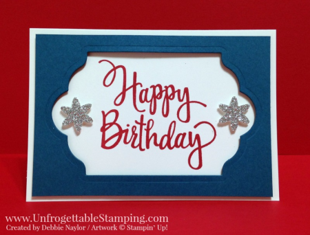 Unfrogettable Stamping | Fabulous Friday red, white and blue birthday card featuring the Stylized Birthday stamp, Lots of Labels and Blossom Bunch punch and silver glimmer paper from Stampin' Up!