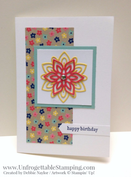 Unfrogettable Stamping | Fabulous Friday birthday card featuring the Big Shot, Flourish framelits and Affectionately Yours specialty DSP by Stampin' Up!