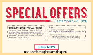 Unfrogettable Stamping | Special Offers by Stampin' Up! - save 25% on these items while they last through September 21, 2016!!