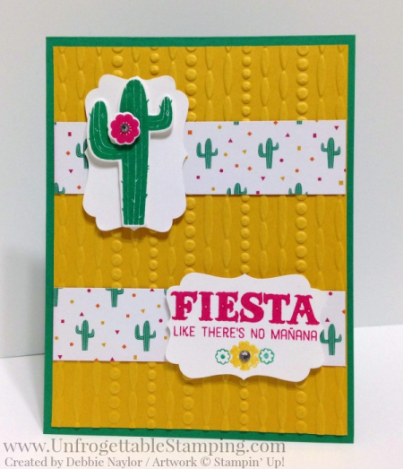 Unfrogettable Stamping | Fabulous Friday birthday card featuring the Festive Birthday DSP and Birthday Fiesta stamp set and coordinating framelits by Stampin' Up!