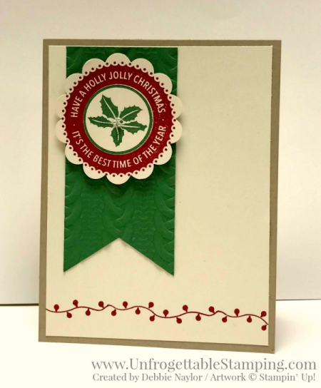 Unfrogettable Stamping | Week 2 QE Christmas card featuring the Holly Jolly Layers stamp set and Cable Knit texture folder by Stampin' Up!