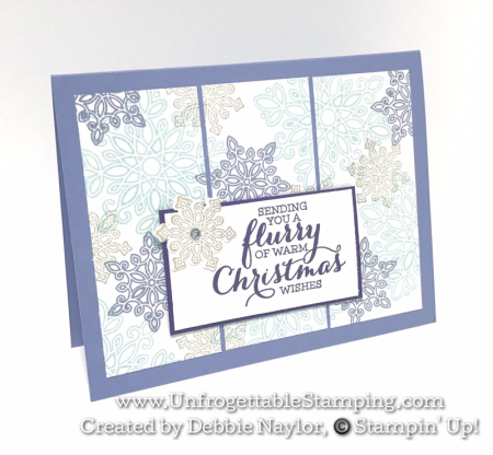 Unfrogettable Stamping | 2016 Week 6 QE Christmas card featuring the Flurry of Wishes and coordinating Snow Flurry punch by Stampin' Up!
