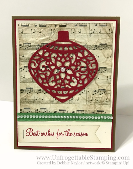Unfrogettable Stamping | Fabulous Friday vintage Christmas card featuring the Holly Berry Happiness stamp set, Delicate Ornaments thinlits and This Christmas specialty DSP from Stampin' Up!