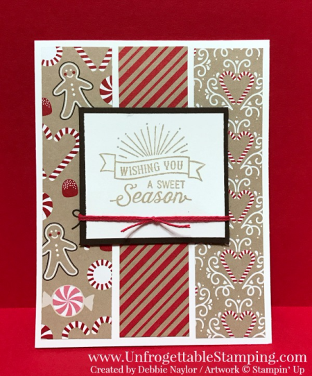 Unfrogettable Stamping | 2016 QE Christmas Week 11 card featuring the Candy Cane Lane DSP and Oh, What Fun stamp set by Stampin' Up!