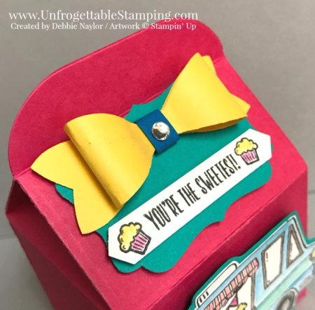Unfrogettable Stamping | Fabulous Friday treat box featuring the Tasty Truck Sale-a-Bration stamp set (earn it for FREE when you purchase $50), Watercolor pencils, Bakers Box thinlit, Bow Builder and Classic Label punches by Stampin' Up!