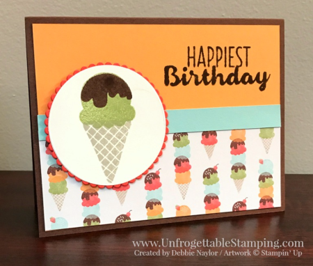 Unfrogettable Stamping | QE birthday card featuring the Cool Treats stamp set and Tasty Treats DSP from Stampin' Up! for week of 01-23-2017