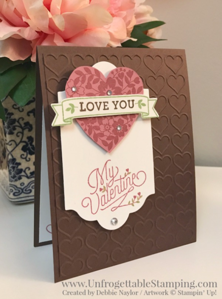 Unfrogettable Stamping | Fabulous Friday Valentine's Day card featuring the Bloomin' Love stamp set, Lots of Label framelits collection and Happy Hearts impressions folder for the Big Shot by Stampin' Up!