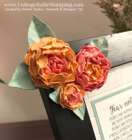 Unfrogettable Stamping   Fabulous Friday altered picture frame featuring paper punch art flowers created using the Pansy, Petite Petals and Festive Flower Builder punches Stampin' Up!