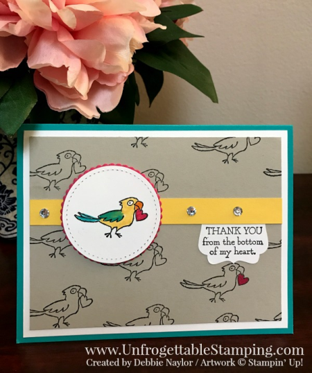 Unfrogettable Stamping | Fabulous Friday Parrot thank you card featuring the Bella and Friends stamp set from Stampin' Up!
