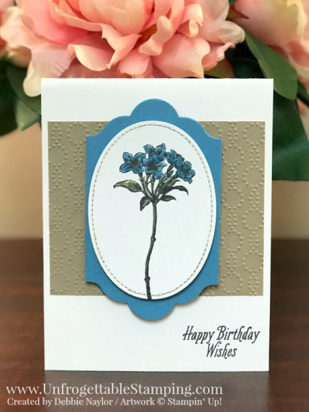Unfrogettable Stamping | QE birthday card featuring the Avant Garden Sale-a-Bration stamp set, Big Shot, Stitched Shapes and Lots of Labels framelits and Elegant Dots texture folder by Stampin' Up! for the week of 2017-03-09