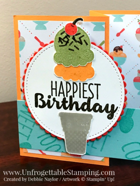 Unfrogettable Stamping | Fabulous Friday double z fold birthday card featuring the  Sweet Treats product suite from Stampin' Up!