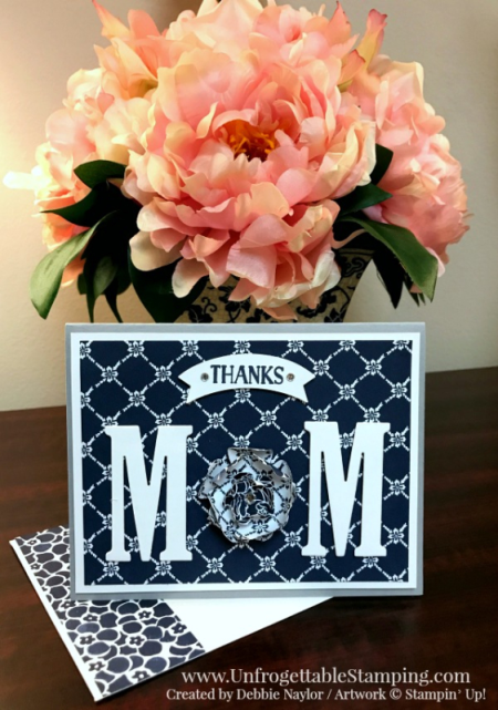 Unfrogettable Stamping | Fabulous Friday Mother's Day card featuring the Floral Boutique DSP; Large Letters framelits for the Big Shot; Duet Banner. Pansy and Blossom Bunch punches by Stampin' Up!