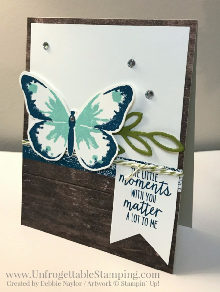 Unfrogettable Stamping | Fabulous Friday Catalog CASE card featuring the Watercolor Wings stamp set and coordinating Bold Butterfly Framelits by Stampin' Up!.  CASE of card on page 126.