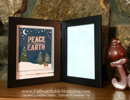 Unfrogettable Stamping | Stampers Dozen Holiday Catalog Inspiration altered Christmas picture frame featuring the Carols of Christmas stamp set and coordinating Card Front Builder framelits set by Stampin' Up!