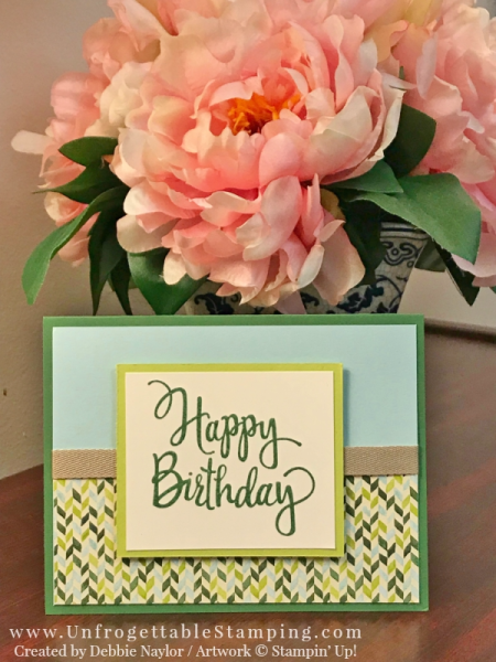 Unfrogettable Stamping | Stampers Dozen Blog Hop featuring the Painted Autumn DSP by Stampin' Up! This birthday card also features the Stylized Birthday stamp set.