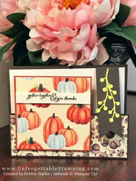 Unfrogettable Stamping   Stampers Dozen Blog Hop featuring the Painted Autumn DSP by Stampin' Up! This fun fold Thanksgiving card also features the Painted Harvest stamp set, Banner Triple punch and Flourish Thinlits for the Big Shot.