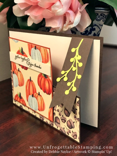 Unfrogettable Stamping | Stampers Dozen Blog Hop featuring the Painted Autumn DSP by Stampin' Up! This fun fold Thanksgiving card also features the Painted Harvest stamp set, Banner Triple punch and Flourish Thinlits for the Big Shot.