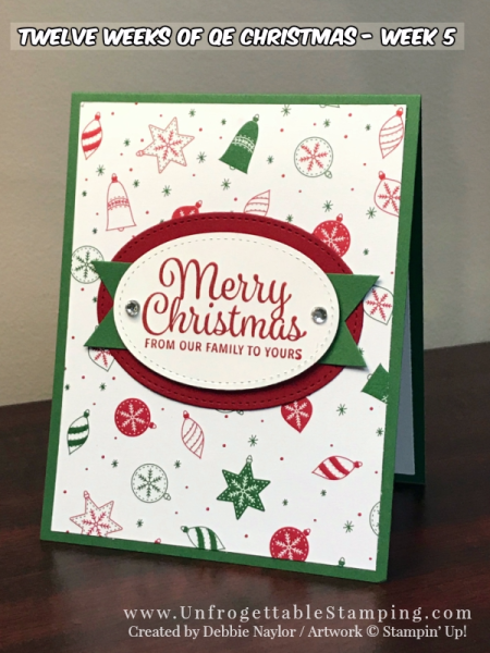Unfrogettable Stamping   2017 Week 5 Christmas card featuring the Snowflake Sentiments stamp set and Be Merry DSP by Stampin' Up!