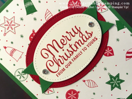 Unfrogettable Stamping | 2017 Week 5 Christmas card featuring the Snowflake Sentiments stamp set and Be Merry DSP by Stampin' Up!