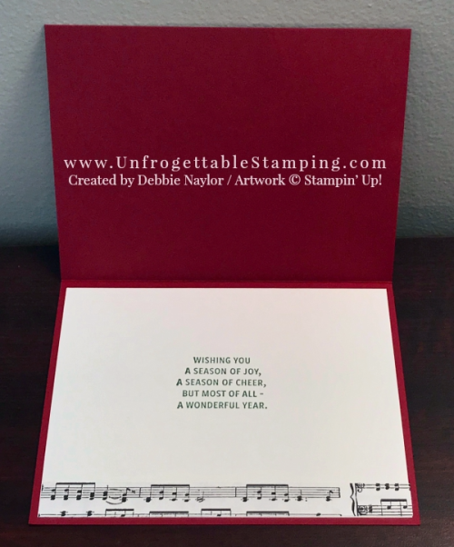 Unfrogettable Stamping | 2017 QE Christmas Week 10 card featuring the Carols of Christmas stamp set and Merry Music specialty DSP by Stampin' Up!