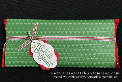 Unfrogettable Stamping | Fabulous Friday Quick & Easy gift idea - Be Merry DSP wrapped candy bar with tag created using the Snowflake Sentiments stamp set, Everyday Label and Pretty Label punches by Stampin' Up!