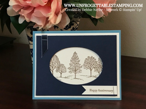 Unfrogettable Stamping | Fabulous Friday Anniversary card featuring the Lovely as a Tree stamp set by Stampin' Up!