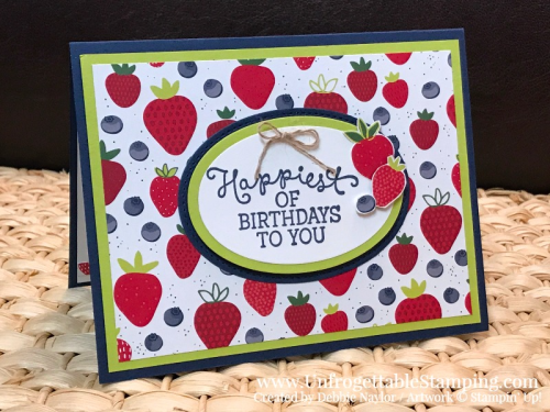 "Unfrogettable Stamping | Stampers Dozen Blog Hop Think Spring birthday card and candy favor featuring the Tutti-Frutti DSP, Birthday Blooms and Hardwood stamp sets, Big Shot, Layering Ovals and Wood Crate framelits, 1"" and 1-1/4"" circle punches by Stampin' Up!"