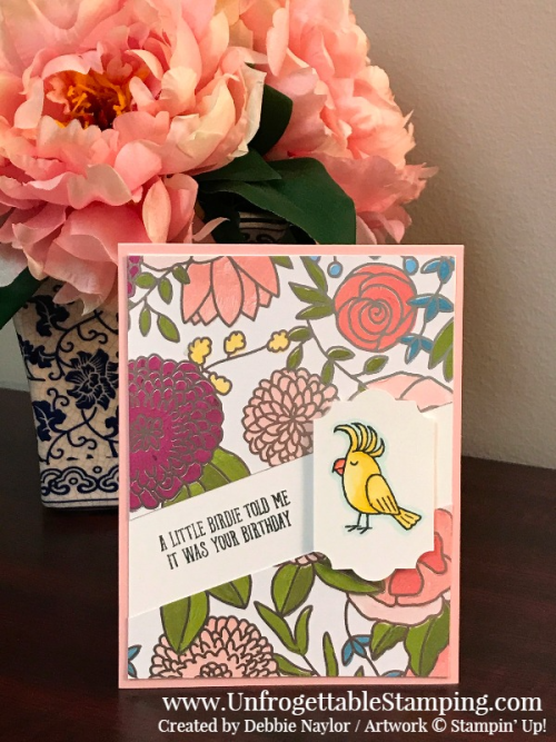 Unfrogettable Stamping | Fabulous Friday birthday card featuring the retiring Bird Banter stamp set and Sweet Soiree specialty DSP in the Stampin' Up! Occasions catalog