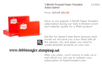 Unfrogettable Stamping | 3 month prepaid paper pumpkin kit subscription on sale now through March 31st and you earn a FREE Sale-a-Bration item!!