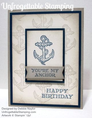 Unfrogettable Stamping | Stampin' Up! Quick & Easy Anchor birthday card featuring the Guy Greetings stamp set
