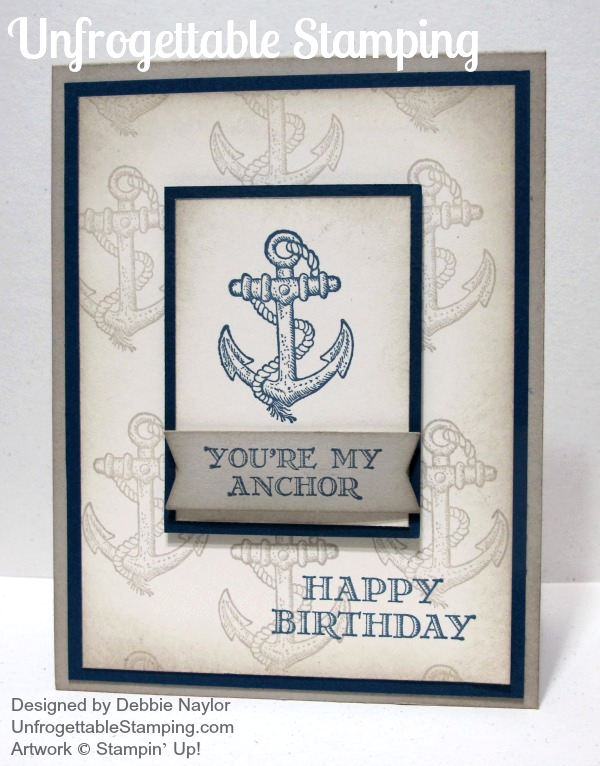 Quick Easy Masculine Anchor Birthday Card Featuring Guy Greetings