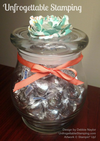 Unfrogettable Stamping   Altered candy jar for my office featuring Stampin' Up! Best Year Ever DSP