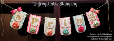 Unfrogettable Stamping | Fabulous Friday Spring flower banner featuring 2013-2015 In Color family and the Party Pennants Bigz L die for the Big Shot