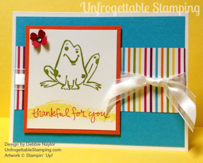 Unfrogettable Stamping | Thank you card featuring the Undefined stamp carving kit and Sweet Taffy DSP