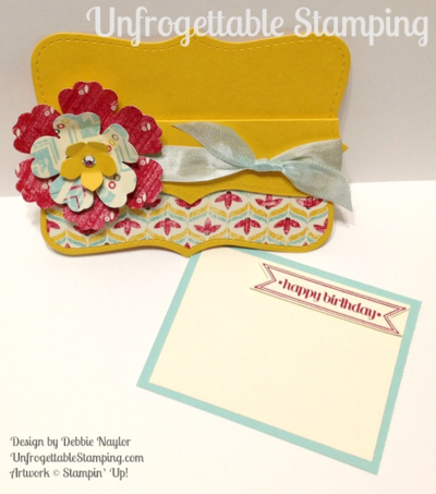 Unfrogettable Stamping | Fabulous Friday pocket gift card holder featuring the retiring Top Note Bigz die, Blossom punch, Itty Bitty Banners stamp set and Flashback DSP by Stampin' Up!