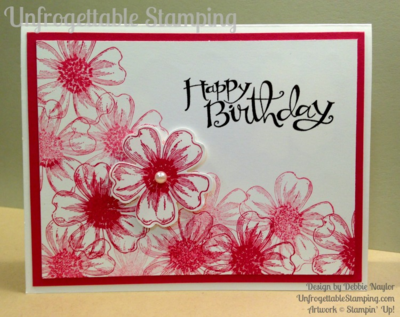 Unfrogettable Stamping | QE CASE'd birthday card featuring the Flower Shop and Sassy Salutations stamp sets and coordinating pansy punch from Stampin' Up! for week of 2015-06-15