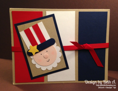 Unfrogettable Stamping | Uncle Sam punch art card by Beth A for July 4th featuring Stampin' Up! punches and card stock