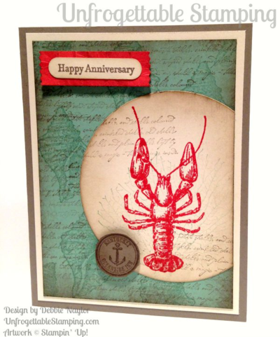 Unfrogettable Stamping | QE Anniversary card featuring the By the Tide stamp set and new In Colors from Stampin' Up! for week of 2015-07-20