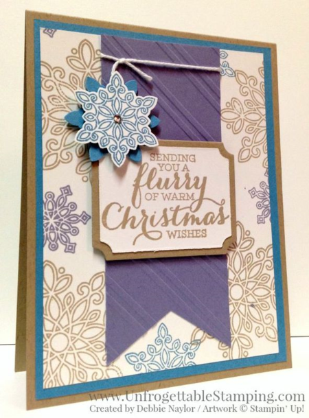 Unfrogettable Stamping | Fabulous Friday Holiday Catalog sneak peek of Flurry of Wishes stamp set and coordinating Snow Flurry punch by Stampin' Up! Christmas card