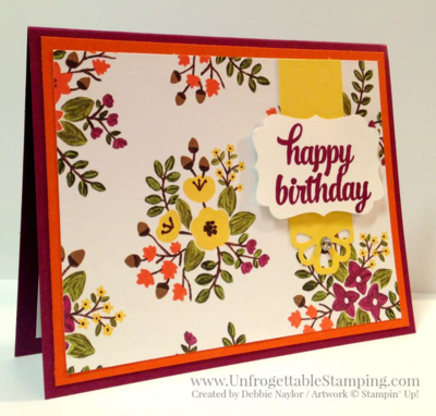 Unfrogettable Stamping | QE floral birthday card featuring Into the Woods DSP by Stampin' Up! for week of 2015-09-21