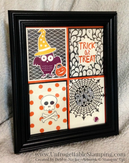 Unfrogettable Stamping | Fabulous Friday Halloween decor featuring the Howl-o-Ween Treat stamp set, Boo to You Big Shot framelits dies and Happy Haunting DSP from the Stampin' Up! Holiday catalog